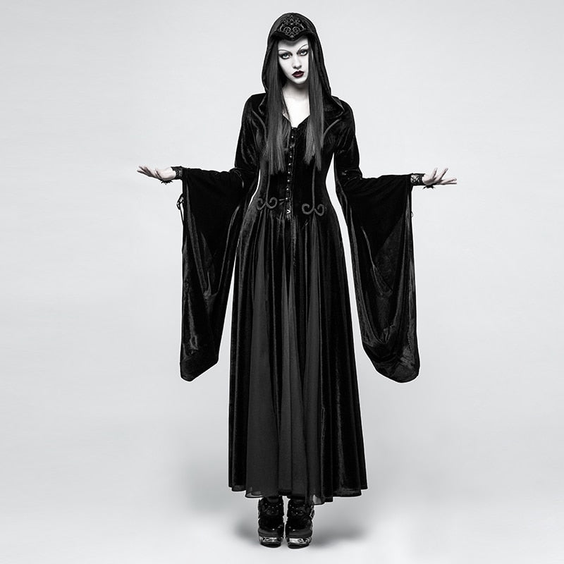 PUNK RAVE Women Gothic Witch Vampire Hooded Dresses Steampunk Cosplay Stage Dress Velvet Hoodie Goddess Long Dresses