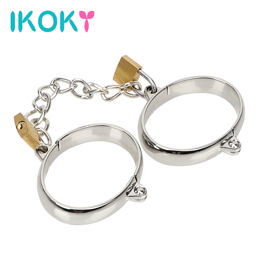 IKOKY 1 Pair Metal Handcuff Ankle Cuffs Wrist Cuff Bondage Restraints Female Male Handcuff Adult Game Sex Toys Stainless Steel