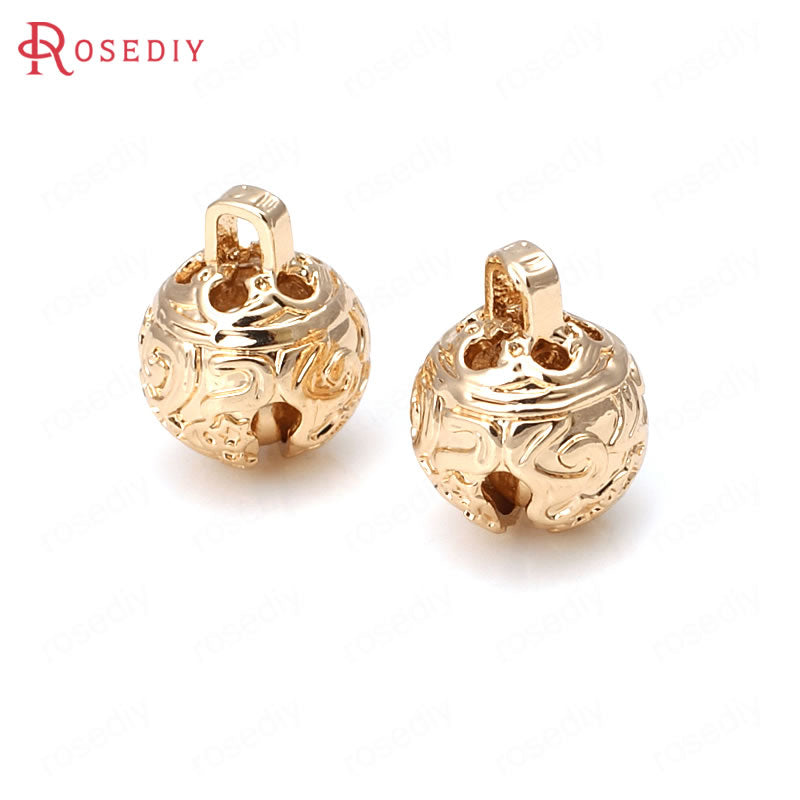 6PCS 8MM 10MM 12MM 24K Champagne Gold Color Plated Brass Carving Bell Beads Charms High Quality Diy Jewelry Accessories