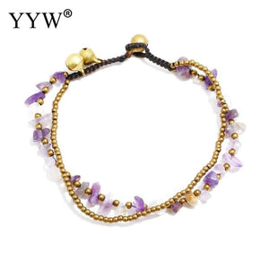 New Fashion Women Anklet Gold Color Plated Brass Beaded Anklet Amethysts Quartz Turquoises Opal Chips Stone With Bell Anklet