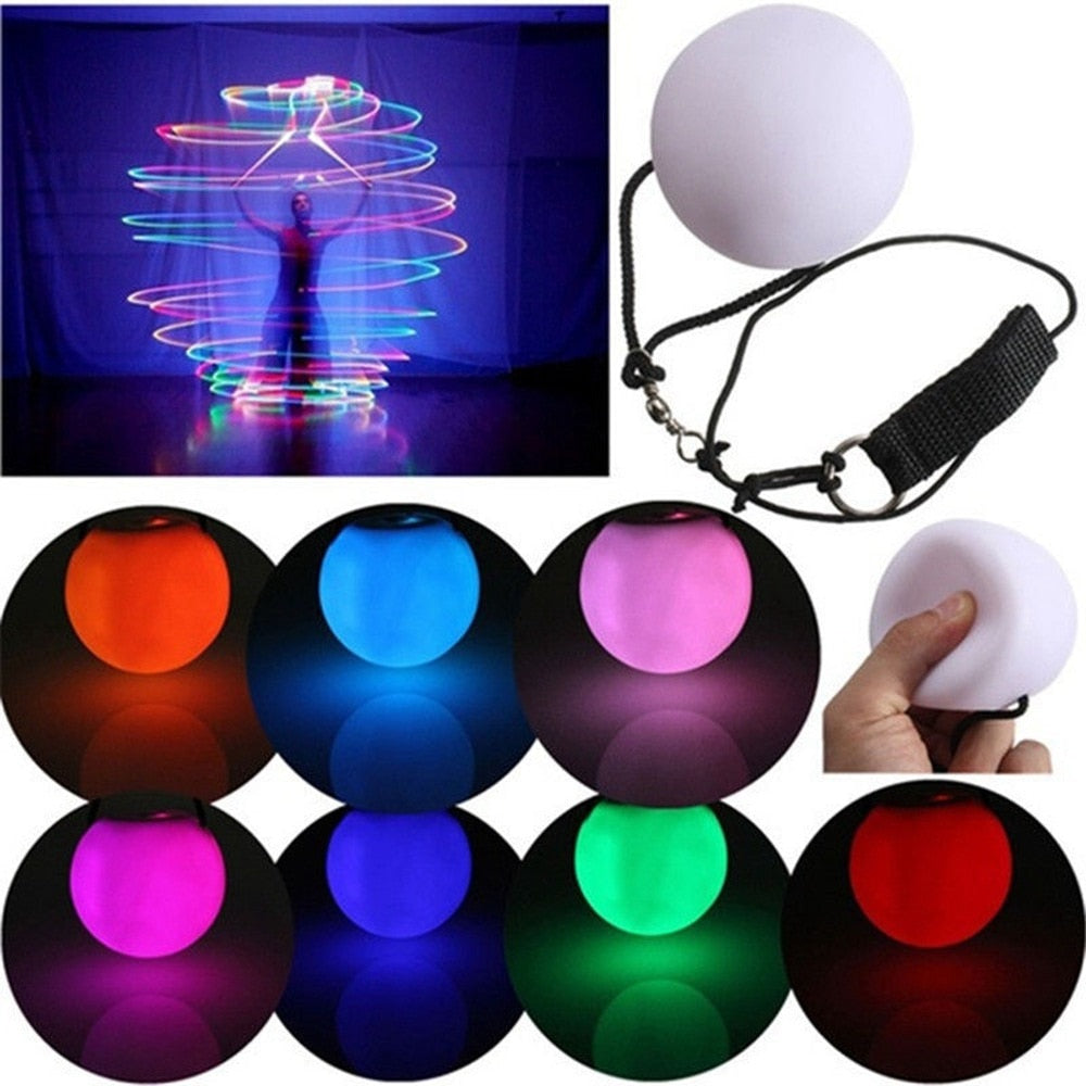 New LED Multi-Coloured Children Glow POI Thrown Toys Ball Light up For Belly Dance Hand Prop Kids Stage Performance Accessories
