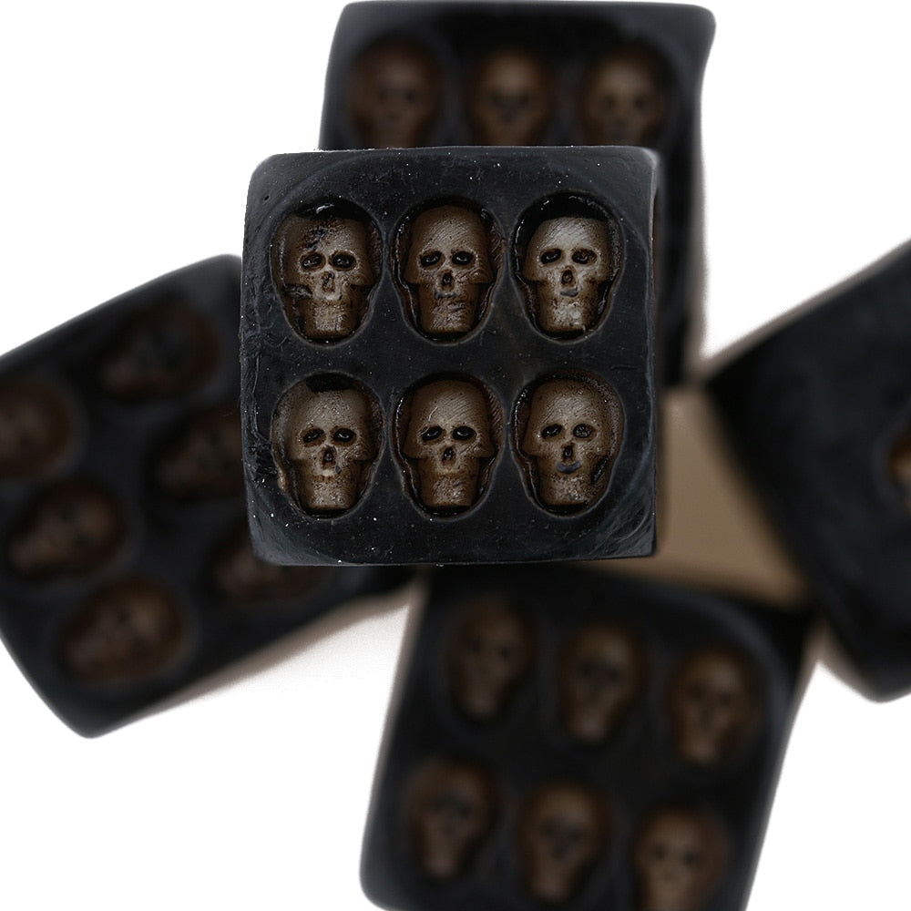 Nemesis Black Skull Dice Grinning Skull Deluxe Devil Poker Dice Gambling Dice Tower with Death Gambling Board Game Tool