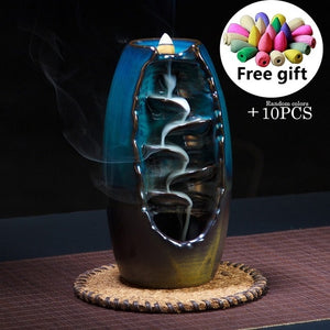 Hot sale Mountain River Handicraft Incense Holder Ceramic Backflow Waterfall Smoke Incense Burner Mother's Gift Home Decor