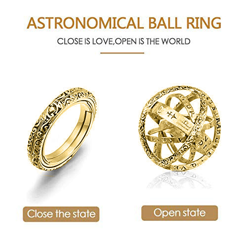 New Fashion Astronomical Sphere Ball Ring Cosmic Finger Ring Couple Lover Jewelry Gifts Foldable Ring Magic Jewelry