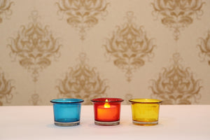 Glass Tea Light Candle Holder - Set of 4