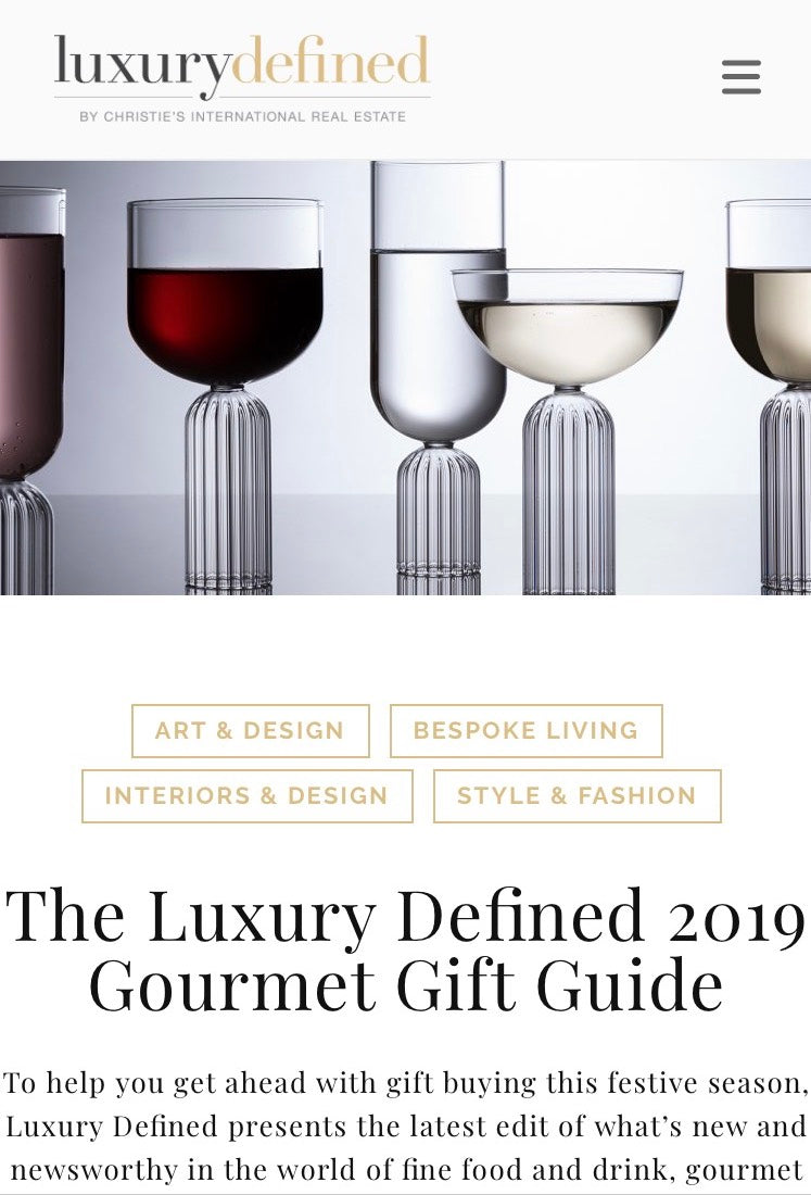 MAY COLLECTION WAS FEATURED IN CHRISTIES INTERNATIONAL REAL ESTATE 2019 GOURMET GIFT GUIDE