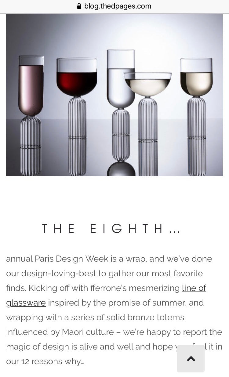 Paris Design Week - fferrone luxury glasses - May Collection