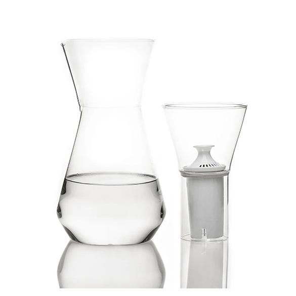 talise glass carafe filter brita fferrone design