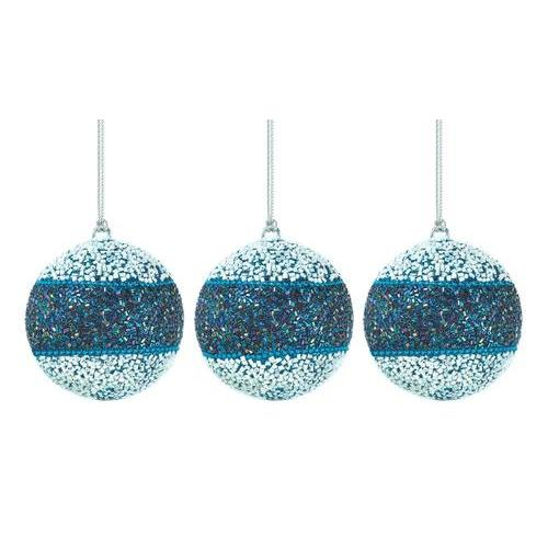 True Blue Beaded Ball Ornament Trio