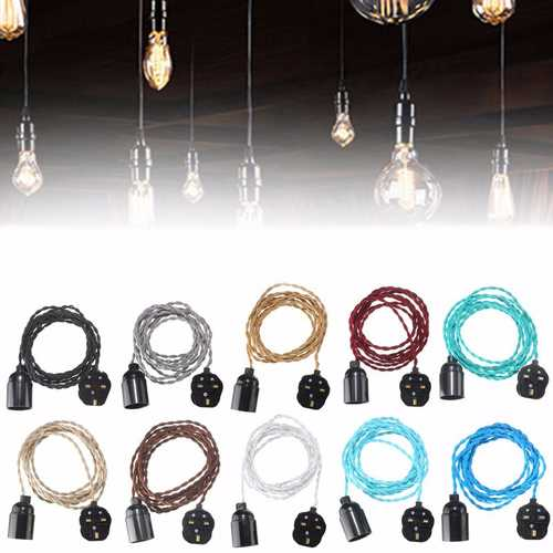 3M E27 Vintage Twisted Fabric Cable UK Plug In Pendant Lamp Light Bulb Holder Socket