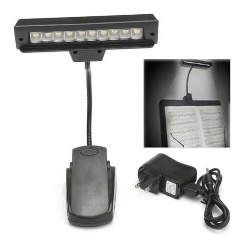 Portable 10 LED Clip-on Orchestra Piano Music Stand Table Light Flexible Reading Lamp
