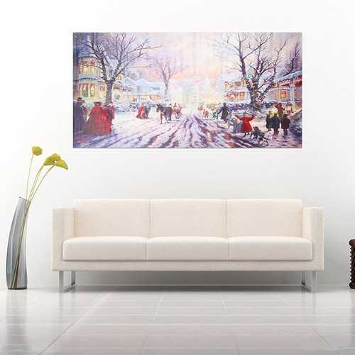 Christmas Carol Crowd Street Frameless Painting Living Room Bedroom Wall Painting Home Decor