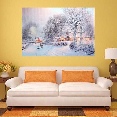 Christmas Night Tree Street Frameless Canvas Painting Living Room Bedroom Wall Painting Home Decor