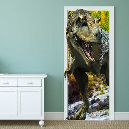 88X200CM PAG Imitative Door 3D Wall Sticker Fiery Dragon Tyrannosaurus Dinosaur Wall Decor Gift