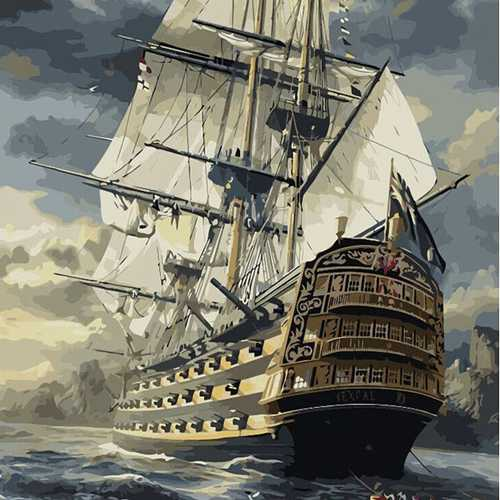 40X50CM Frameless Sailing At Sea Canvas Linen Canvas Oil Painting DIY Paint By Numbers Paper Art