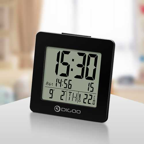 Digoo DG-C2 Home Comfort Indoor Digital Blue Backlit LCD Thermometer Desk Alarm Clock 2 Alarm Setting Modes