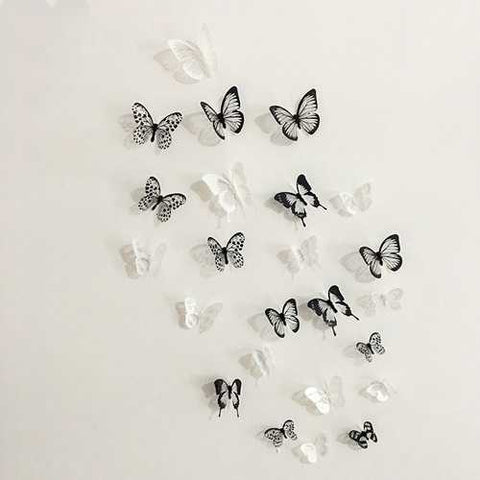 Miico 18Pcs 3D Black White Butterfly Wall Sticker Fridge Magnet Home Decor Sticker Art Applique