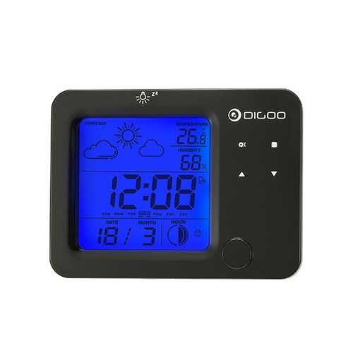 Digoo DG-C5 Wireless Blue Backlit Hygrometer Thermometer Weather Forecast Station Touch Sensor Alarm Clock