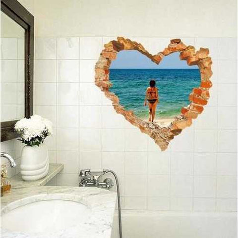 3D Heart Beach Walking Living Room Bedroom Animals Floor Background Wall Decor Creative Stickers