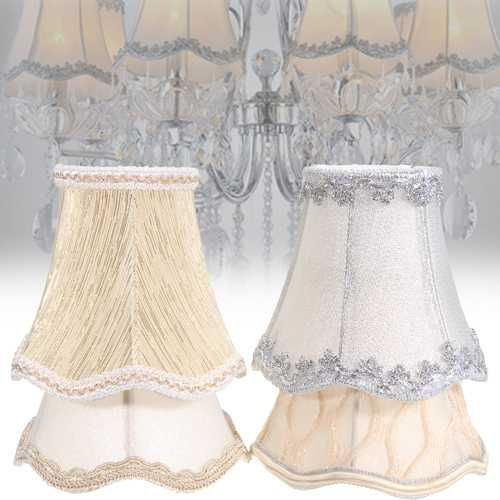 Vintage Small Lace Lamp Shades Textured Fabric Covers for Ceiling Chandelier Light