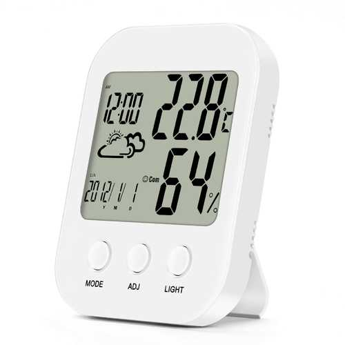 Loskii DC-10 Indoor Humidity And Thermometer Monitor Digital Alarm Clock Calendar And Home Weather Station Large LCD Backlight Display