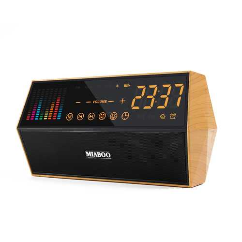 Miaboo FM Radio Smart Clock Bluetooth Capacitive Sensing Touch Panel Clock LED Wireless TF Card AUX Speakers Alarm Clock