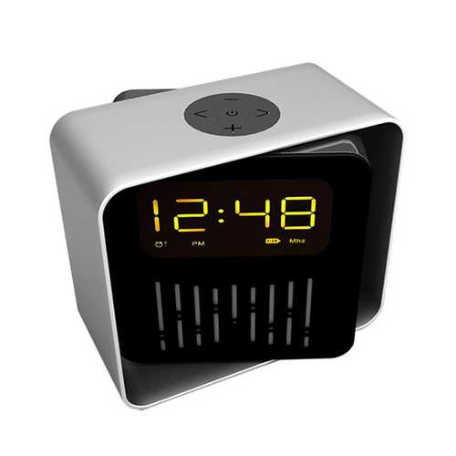 USB Charging LED BT/TF/FM Bluetooth Speaker 360 Rotation Radio Alarm Clock