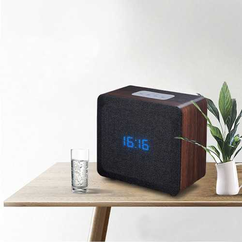 Wireless Bluetooth Speaker Alarm Clock Wooden Home Retro Radio Timebox LED Digital Table Music Clock