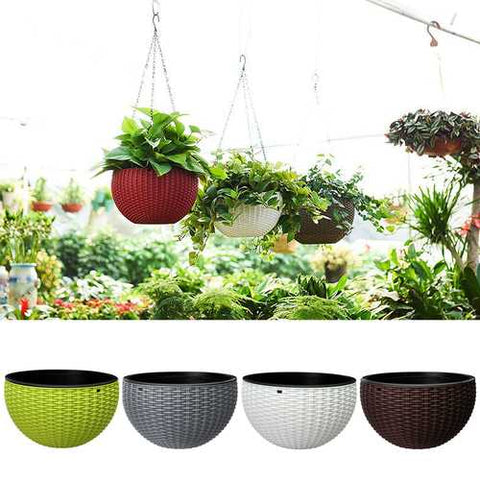 Gardening Rattan Waven Hanging Flower Chain Basket Pot Plant Holder Home Balcony Decorations