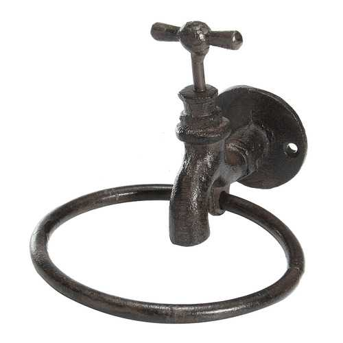 Industrial Cast Iron Bathroom Tap Towel Ring Hanger Home Towel Holder Wall Rack Rustic