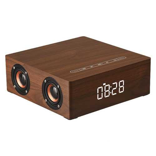 Portable Wooden Bluetooth Speaker 12W 4 Speaker Alarm Clock Display Column Speaker 3D Stereo Subwoofer Support USB TF AUX Play Handsfree Bluetooth Speaker Smart Touch Button Wireless Bluetooth Speaker
