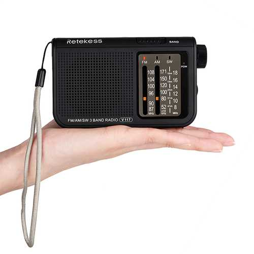 Retekess V-117 FM AM SW 3 Band Radio Battery Powered Operated by 2 AA Battery Transistor Radio Jack Emergency Radio Receiver Portable Radio Station