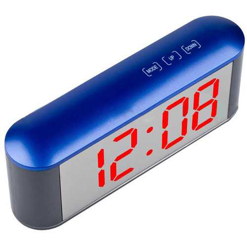 TS-S25 Digital Time Display Touch LED Mirror Clock 3 Modes Brightness Adjustable Temperature C/F Alarm Snooze Night Mode Function Night Led Light Table Desktop Alarm Clock Despertador