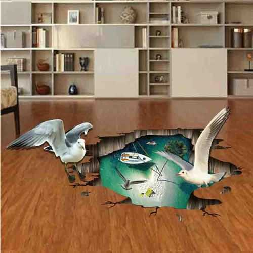 Creative Cartoon 3D Sea Gull PVC Broken Wall Sticker DIY Removable Decor Waterproof Wall Stickers Household Home Wall Sticker Poster Mural Decoration for Bedroom Living Room