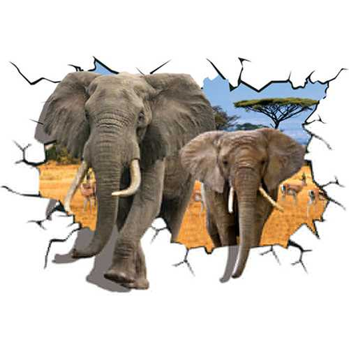 Creative 3D African Animal Elephants PVC Broken Wall Sticker DIY Removable Decor Waterproof Wall Stickers Household Home Wall Sticker Poster Mural Decoration for Bedroom Living Room