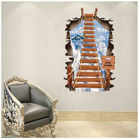 Creative Sky Cable Stairs PVC Broken Wall Sticker DIY Removable Decor Waterproof Wall Stickers Household Home Wall Sticker Poster Mural Decoration for Bedroom Living Room