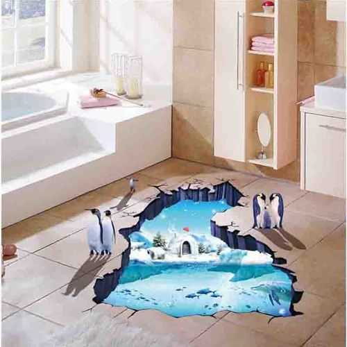 Creative 3D Polar Glacier Penguin PVC Broken Wall Sticker DIY Removable Decor Waterproof Wall Stickers Household Home Wall Sticker Poster Mural Decoration for Bedroom Living Room