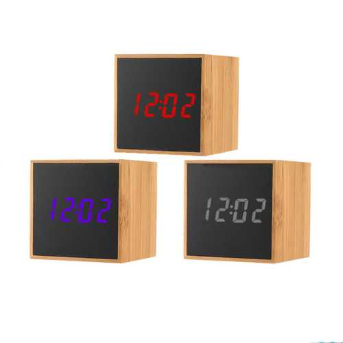 TS-M01 Wood Bamboo Multi-Function LED Alarm Clock Time 12H / 24H Temperature °C/°F Display Sounds Control Desktop Digital Table Clocks