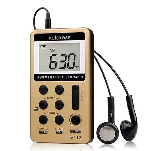 Retekess V-112 Gold Portable AM FM Stereo Radio with Earphones Pocket Mini Digital Tuning Rechargeable Battery Operated Radio LCD Display Radio for Walk