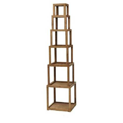 "72"" X 16"" X 16"" Brown 6 Layer Rustic Tower-Like Wooden Corner Shelf"