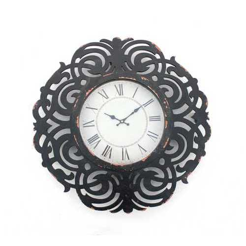 "2"" X 24"" X 24"" Black Vintage Decorative Wooden Wall Clock"