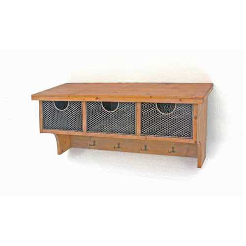 "14.5"" X 133"" X 1"" Brown Rustic Wooden Wall Shelf With 3 Drawers"