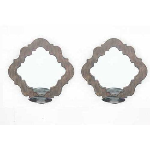 "5.5"" X 12.25"" X 12.25"" Brown Rustic Decorative Mirrored Candle Holder Sconce Set"