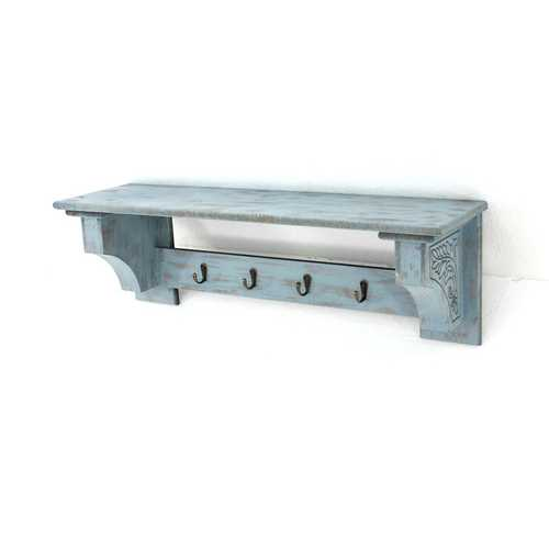 "9.75"" X 8"" X 30"" Blue Vintage Wooden Wall Shelf With 4 Metal Hooks"