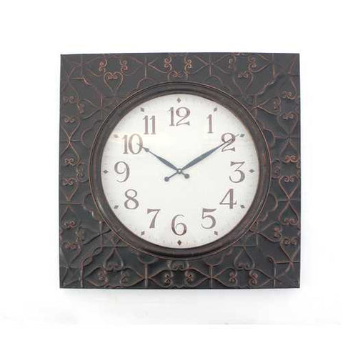 "2"" X 28"" X 28"" Brown Vintage Square Brass Metal Wall Clock"
