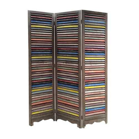 "71"" X 48"" Multi-Colored Wood Shutter Screen"