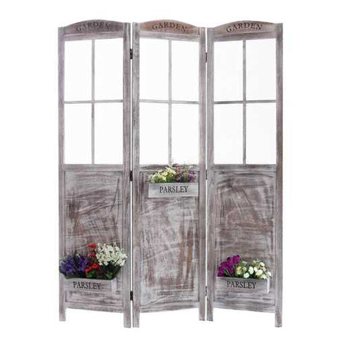 "70"" X 53"" Gray Flower Pot Garden Wooden Screen"