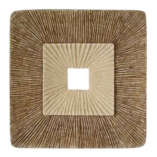 "26"" X 2"" Brown Concave Square Double Layer Ribbed Wall Plaque"