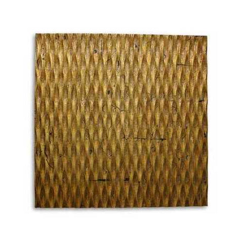 "36"" X 36"" Gold Metallic Ridge Wall Art"