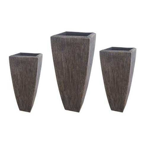 Brown 3 Set Sandstone Ribbed Long Square Planter